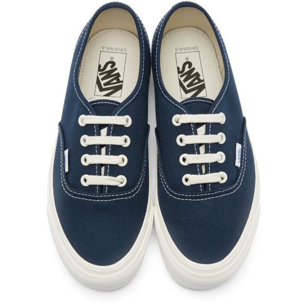 Vans Navy Canvas OG Authentic LX Sneakers (€55) ❤ liked on Polyvore featuring shoes, sneakers, vans trainers, low top canvas sneakers, lace up sneakers, lacing sneakers and low profile sneakers