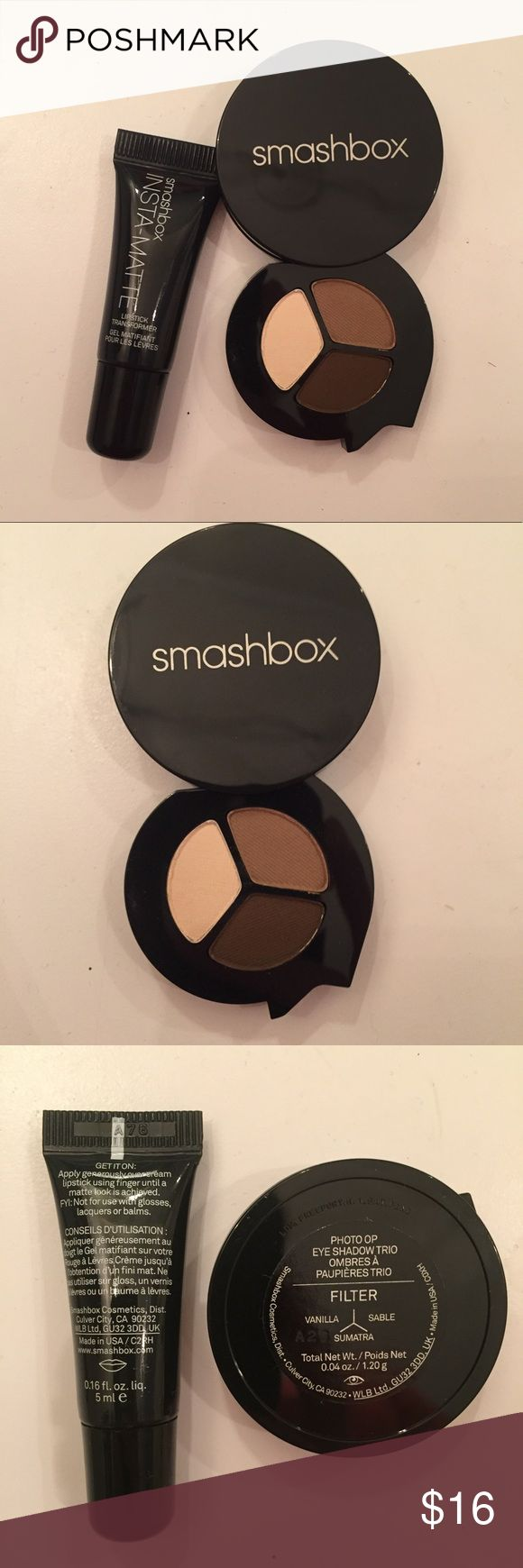 Smashbox Eyeshadow & Matte lip transformer Smashbox Insta Matte Lipstick transformer changes any lipstick into a matte version. Brand new deluxe travel size. 0.15 fl oz / 5 ml  Smashbox eyeshadow trio. Gorgeous nude shades  Filter --- Vanilla, sable, Sumatra  0.04 oz  travel size  Check out my other beauty makeup and other listings for bundles! Smashbox Makeup Eyeshadow