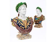Hampel Paar imposante Majolika-Büsten,    Angelo Minghetti,    1822 - 1885, zug. Hampel Auctions. Barnebys.com