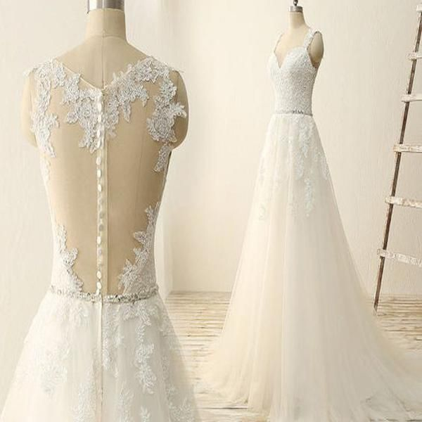 Elegant Long A-line See Though Ivory Lace Tulle Wedding Dresses With Rhinestone Belt, WD0222