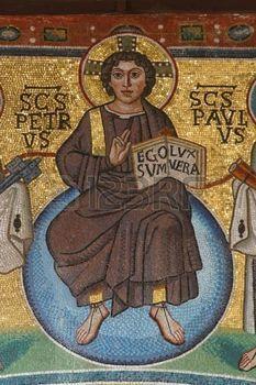 mosaique romaine: Jésus-Christ, la basilique euphrasienne, Porec, Croatie