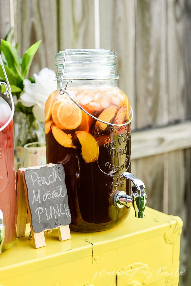 PEACH - MOSCATO PUNCH  6 16oz. Snapple Peach Tea 1 bottle of Moscato ( adding another bottle is optional) Fresh peach slices and lemon slices