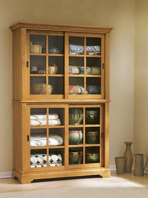 Sliding door cupboard woodworking plan from wood magazine for Hutch plans woodworking free