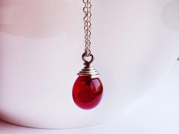 Red Drop Necklace Teardrop Pendant Lampwork by GlassHouseLampwork