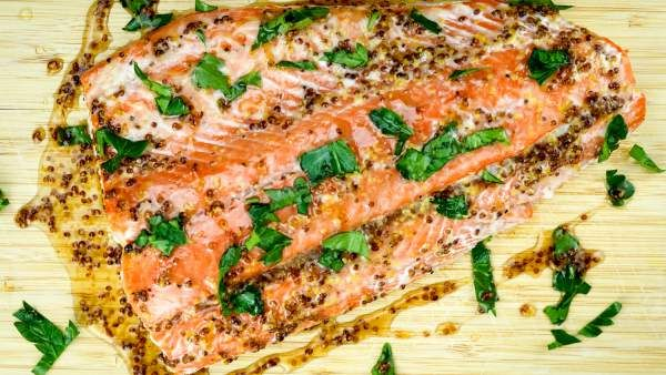 Maple Mustard Salmon https://www.slenderkitchen.com/recipe/maple-mustard-salmon