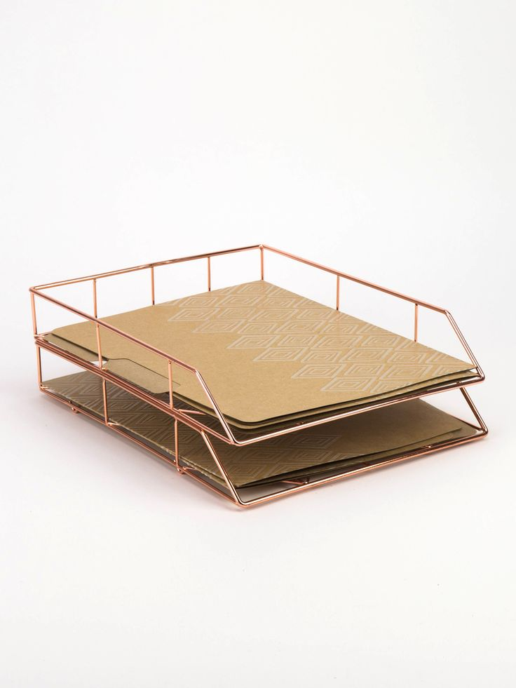 U Brands Copper Wire Letter Tray