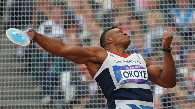 Lawrence Okoye of Great Britain competes in the Men's Discus Throw qualification on Day 10 of the London 2012 Olympic Games at the Olympic Stadium