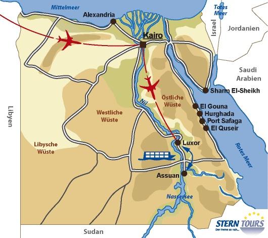 Ägypten Karte und Reiseroute