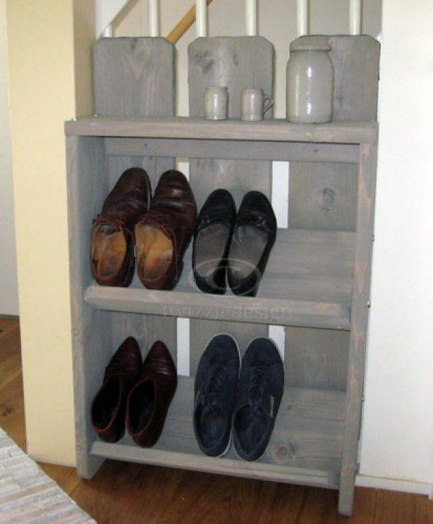 Twizziedesign steigerhout schoenenkast in diverse afmetingen verkrijgbaar