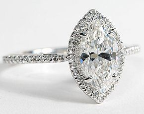 Marquise Cut Halo Diamond Engagement Ring in 18K White Gold #BlueNile