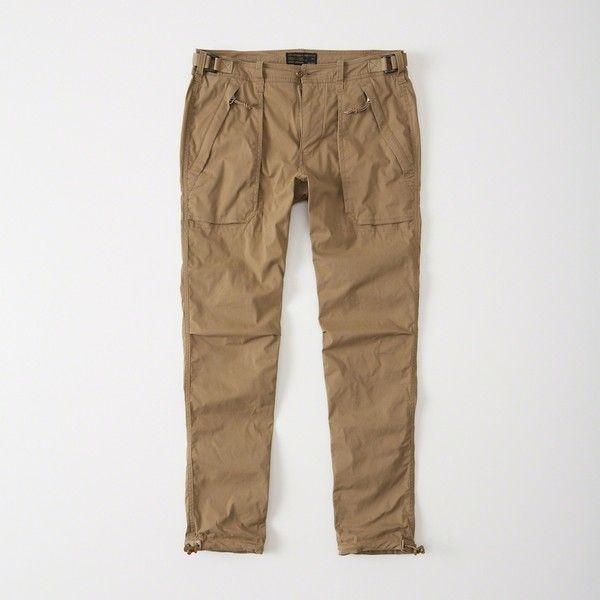 Abercrombie & Fitch Paratroop Pants ($78) ❤ liked on Polyvore featuring men's fashion, men's clothing, men's pants, men's casual pants, dark khaki, mens zipper pants, mens camo pants, mens slim camo pants, mens zip off pants and mens camouflage pants