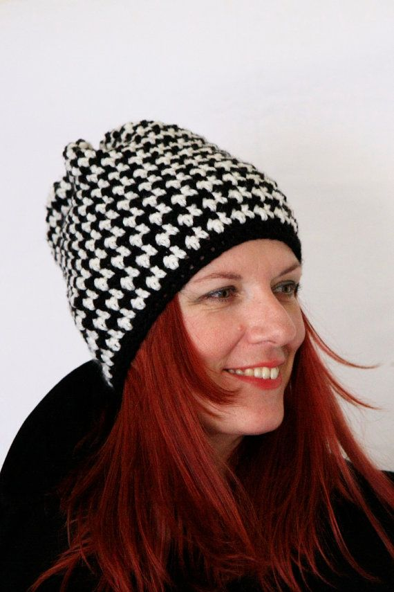 Houndstooth beanie hat in black and white Aktis, by polixeni19