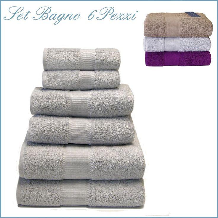 SOFT Set Asciugamani Bagno 6 Pezzi spugna di Purto cotone | Viva le ...