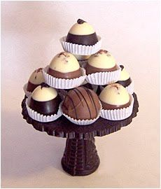 Two-tones truffles on a chocolate stand