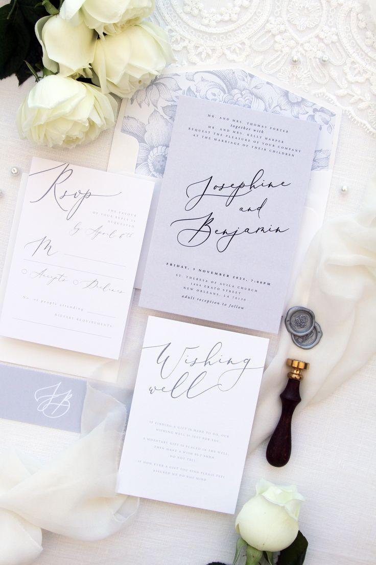 Jennifer Champagne Wedding Invitation Sets Calligraphy Wedding