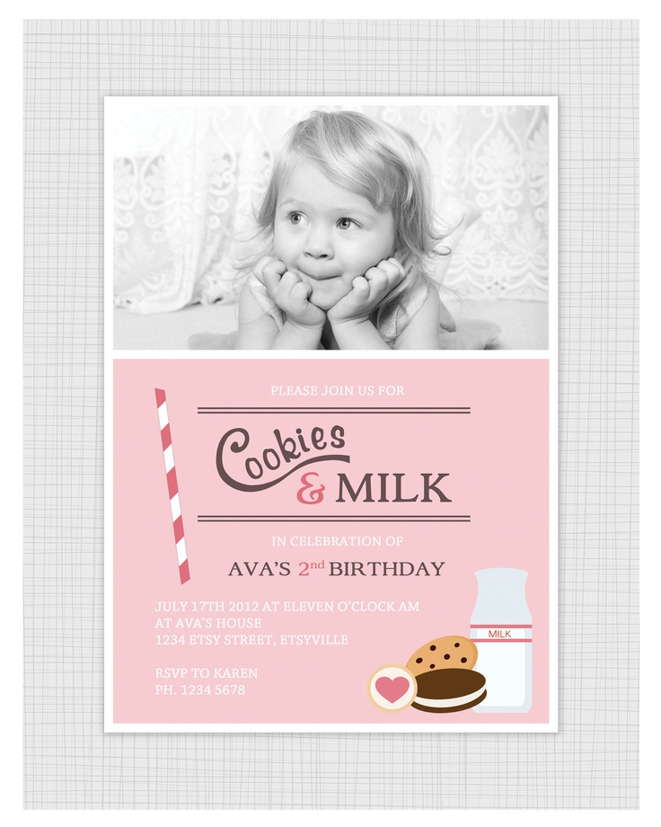 Girls Birthday Party Invitations. Milk and Cookies. I Customize, You Print.. $15.99, via Etsy.