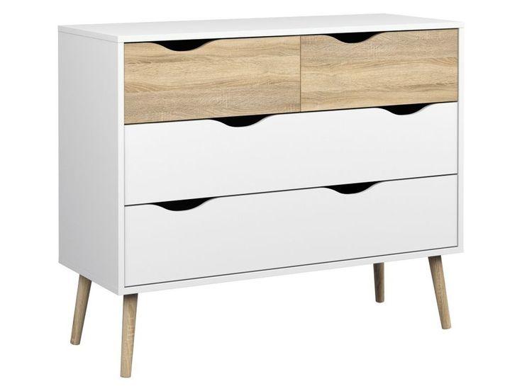 Kommode DELTA Anrichte Sideboard Weiß / Eiche Struktur in Möbel & Wohnen, Möbel, Kommoden   eBay
