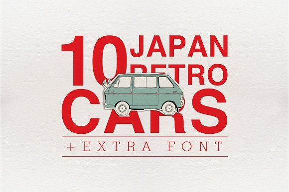 10 Japan Retro Cars + Extra by Storyteller Imagery on @creativemarket