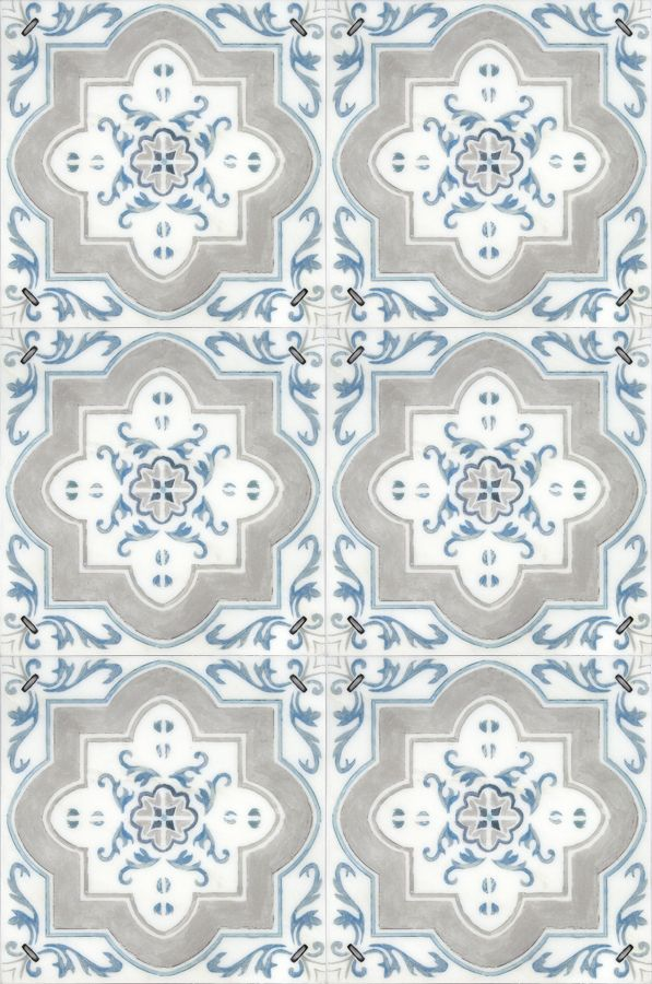 There Is Nothing More Classic Than The Catalina Patterned Tile Featured On A Carrara Marble Spanish Bathroomspanish
