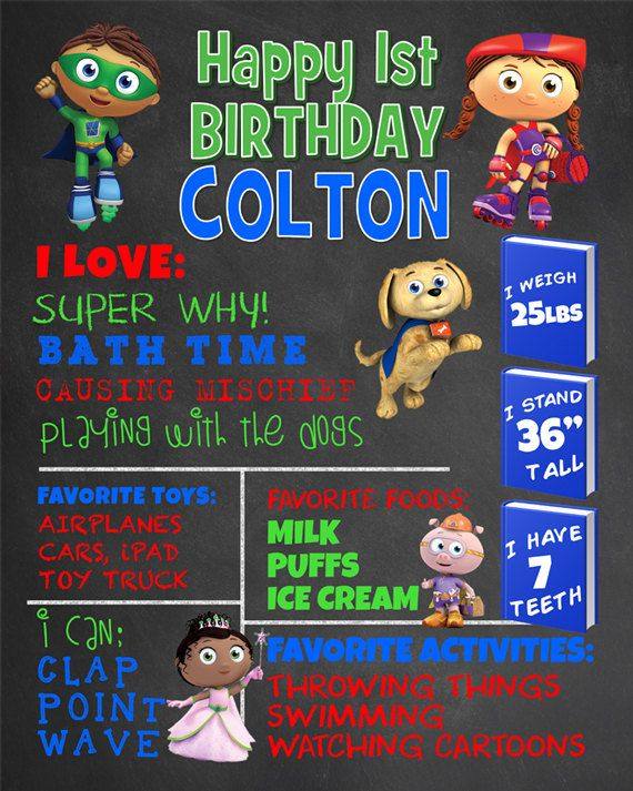 First Birthday Chalkboard Super Why Party. Super Why Boy 1st Birthday Chalk Board Custom Printable. Cartoon Party Decor. Milestone Sign