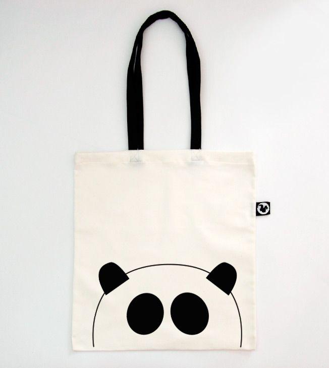 Panda Tote Bag. Black Straps.  #totebags #screen #printed #handmade #serigrafia #diseño #panda #illustration #black&white #shopping #shopper #goodie #bag