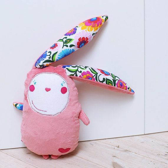 Pastel Pink Stuffed Bunny, Easter Bunny Rabbit - handmade soft toy by MILULAKI