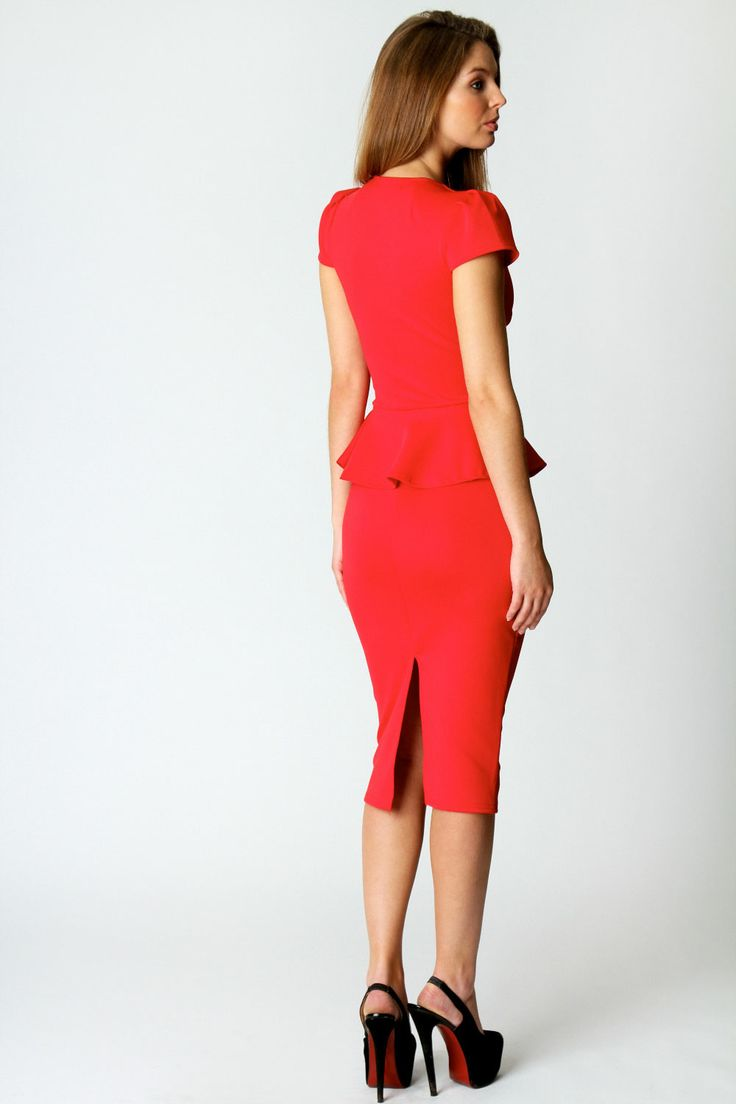 Emily Slit Neck Cap Sleeve Peplum Midi Dress at boohoo.com