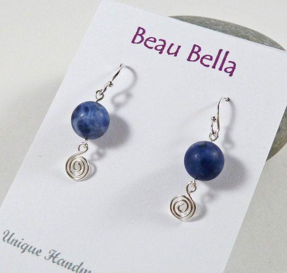 Sodalite Earrings Blue Gemstone Earrings by BeauBellaJewellery