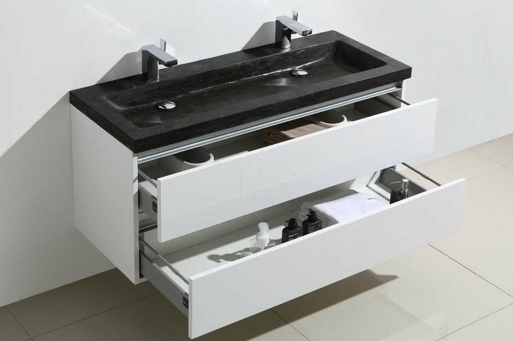 € 1.049,- Lambini Designs Trend stone badmeubel - Hoogglans wit - natuursteen - 2 kraangaten - 55cm (H) - 120cm (B) - 47cm (D) #aanbieding #natuursteen #wastafel #meubel
