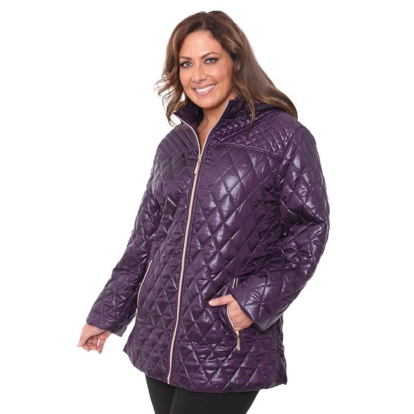 White Mark Women's Plus Size Puffer Coat