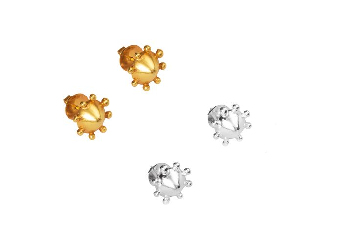 Izna Studs - 950 Silver studs with shiny finish and 24k gold plating option. From tCollection no.1