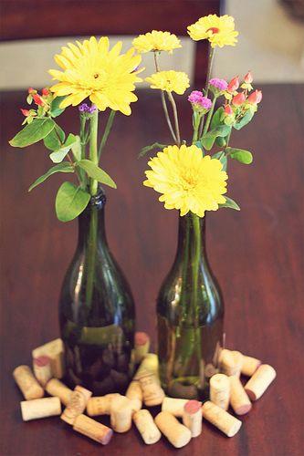 DIY: Wildflower Wine Bottle Centerpieces | Dinner Ideas ...