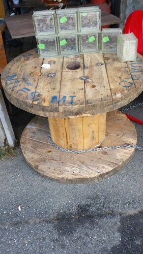 """36"""" round spool table ready to finish $75 only at Tallulah's Antiques and More in Wilmington vermont!"""