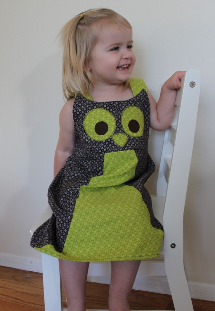 "sew easy being green: Adorable Owl Jumper tutorial - This is the cutest little dress - the brown on the sides are the owl ""wings"" - love this!"
