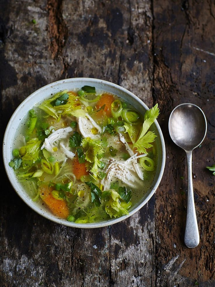 Poached chicken and vegetable soup l Jamie Oliver's take on chicken soup involves potatoes, fresh thyme, and leeks! It's definitely a weekend meal, since you need to simmer the chicken for quite a while--but it would heat up well for a quick weeknight dinner!