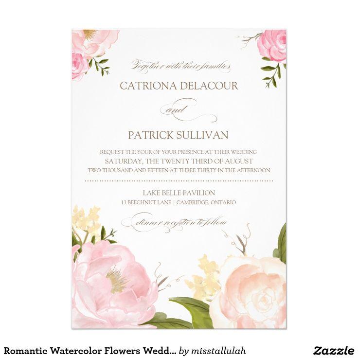Romantic Watercolor Flowers Wedding Invitation