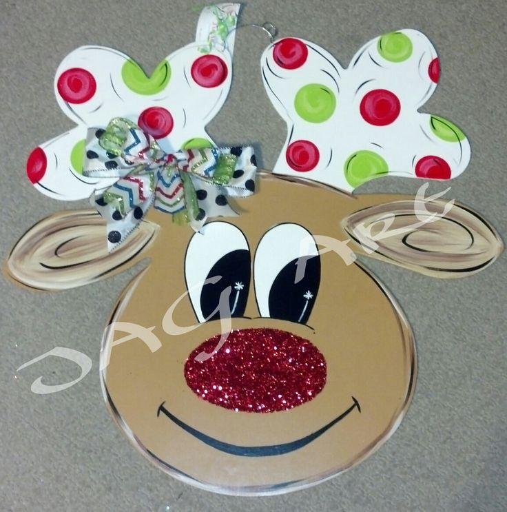 Glitter nosed REINDEER door hanger with bow by JAGARToriginals on Etsy