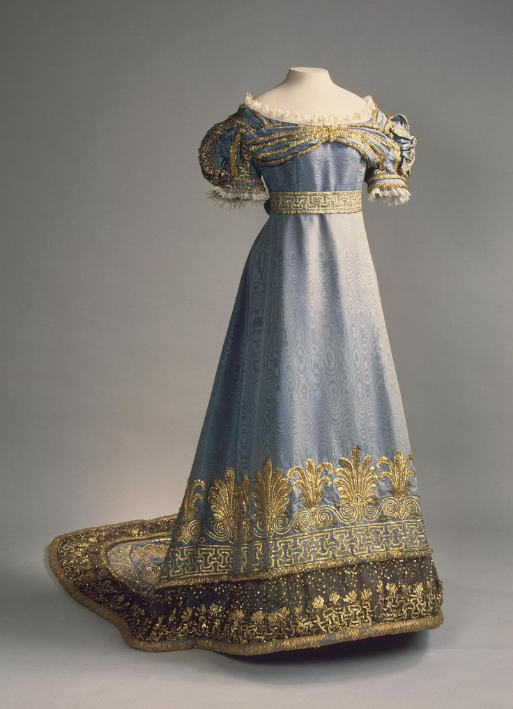 Ceremonial Court Dress; Russia, 1820s // Moire, gilded thread, wire, lace, tulle and blondes (raw-silk lace) | Possibly belonged to Empress Maria Fyodorovna