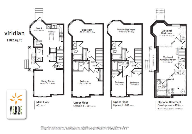 'Viridian' floorplan model at Verde in Clearview. 1182 sq.ft.    1182 square feet  - Optional lower level development adds 370 square feet.  - 2 large bedrooms each with ensuite or 3 bedrooms with 2 bathrooms  - Spectacular corner turret creating dining nook and upper bedroom sitting area.
