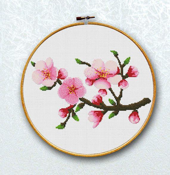 Cross Stitch Pattern Apple Blossoms, Flower, 150x98 Stitches, Digital, Chart, PDF, Instant Download
