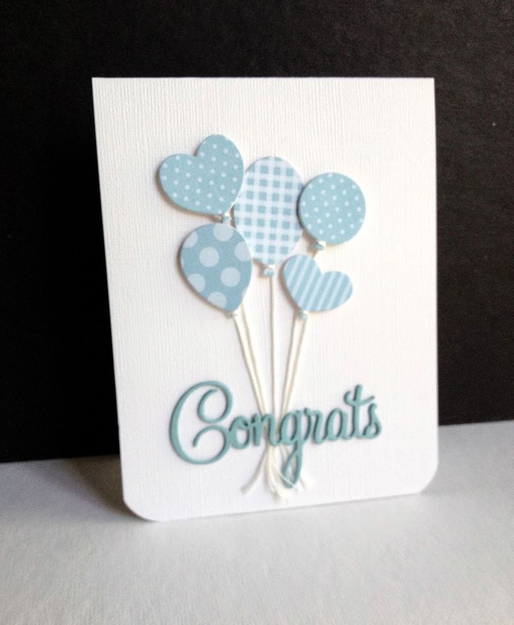 Blue balloons welcome a new baby boy!  Different shades and patterns on an all-white card base look especially cute on this handmade congratulations baby card.