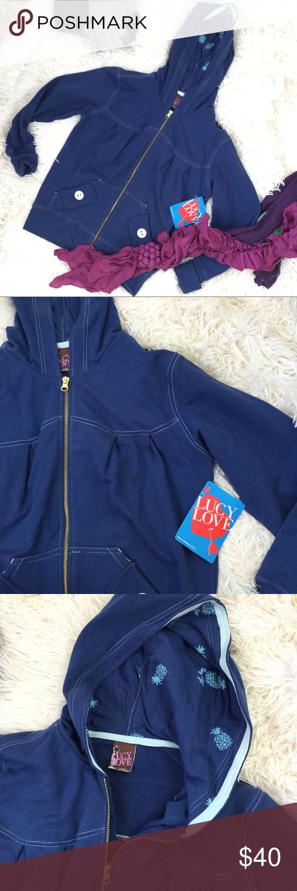 "Pacsun Navy Zip Up Hoodie Lucy Love Hoodie✨ *Size L *Cotton/Spandex                                                                                                                           *Measurements laid flat: bust 22""/length 25""                                                                       *NWT *Save On bundles! PacSun Tops Sweatshirts & Hoodies"