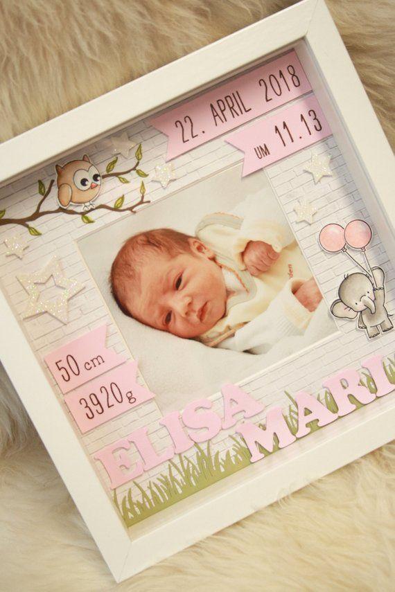 Personalisiertes Geschenk zur Geburt im Rahmen