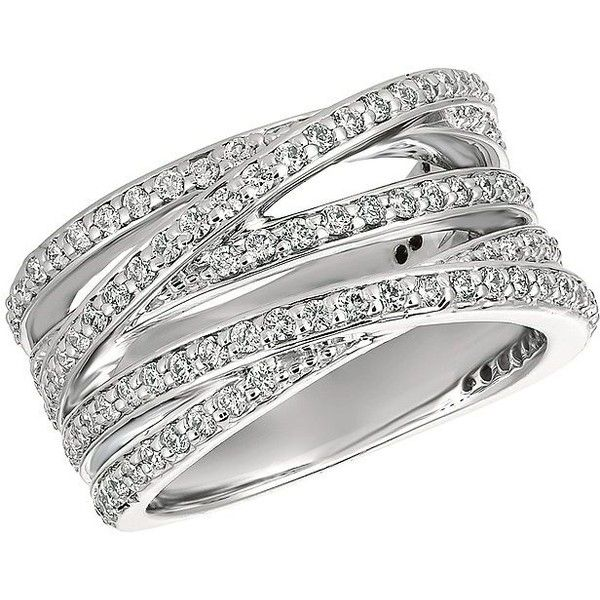 Morris David Diamond And 14k White Gold Crossover Ring 3 250 Liked On Polyvore Featuring Turquoise Ring Silver Jewelry Rings Unique Stone Rings Natural