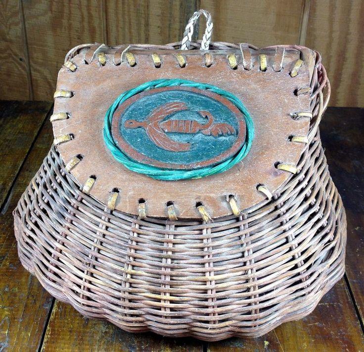 Vintage Decorative Fishing Creel Tackle Box Woven Wicker Wood Rustic Storage Box | Sporting Goods, Fishing, Vintage | eBay!