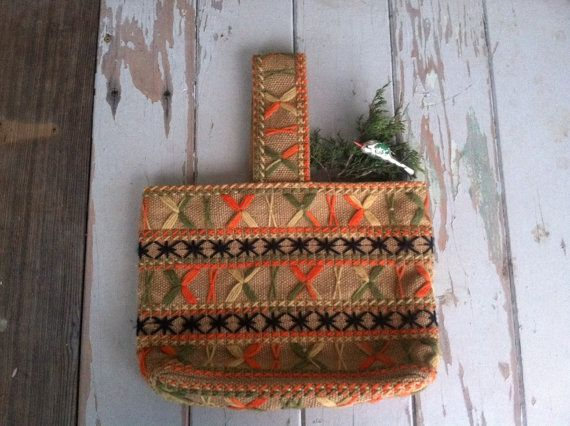 Retro Burlap Purse With Vibrant Embroidery  by happydayantiques