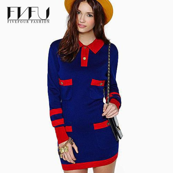 ==> [Free Shipping] Buy Best Fashion 2017 Autumn Winter Dress Plus Size Retro Navy Style Vintage Dress Women Hit Color Stitching Long Sleeve Casual Dress Online with LOWEST Price | 32704517329