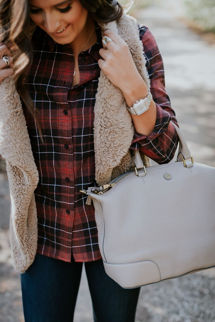 faux fur drape vest, fleece vest, fleece drape vest, vince camuto booties, fall booties, plaid shirt, flannel shirt, madewell ex boyfriend shirt, tory burch slouchy satchel, holiday style, holiday fashion, cute holiday outfit // grace wainwright a southern drawl