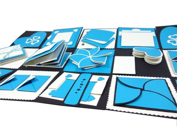 Blue Exploding/Explosion Endless Box Photo Album-Unique, Vintage, Handmade Gift -For Boyfriend, Girlfriend,Mom,Dad/Birthday,Love Anniversary
