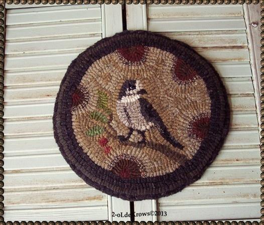 Perfect Olde Gray Jay  PrimiTive Bird FoLk ArT Original Hand Hooked WooL Rug MaT  OOAK. Chair PadsRug ...